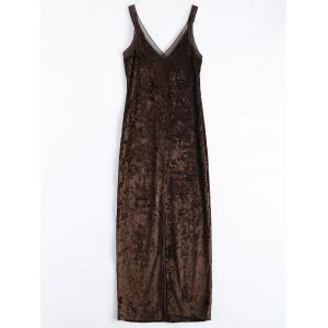 Velvet Mesh Insert Slip Dress - Coffee - S