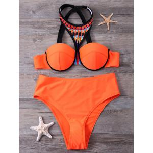 Push Up Print Panel Crosscriss Bikini Set
