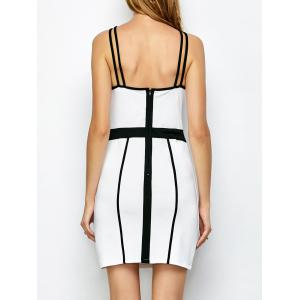 Piping Bandage Strap Bodycon Tank Dress - WHITE M