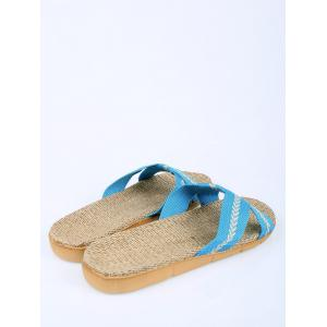 Color Block Linen Slippers -