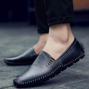 Faux Leather Stitching Slip On Sneakers -