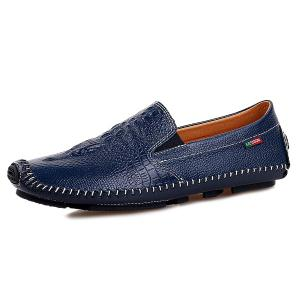 Embossed Faux Leather Slip On Sneakers - Blue - 40