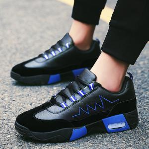 Round Toe Embroidered Sneakers - BLUE 43