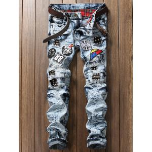 Rivets Embellished Patches Biker Jeans