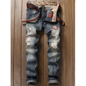Zipper Fly Pocket Distressed Straight Leg Jeans