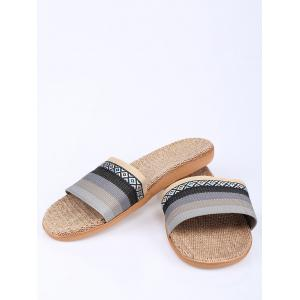 Striped Ombre House Slippers - GRAY SIZE(42-43)