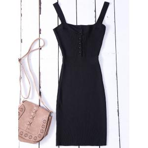 Bodycon Wide Strap Tank Ribbed Jumper Dress - Black - One Size
