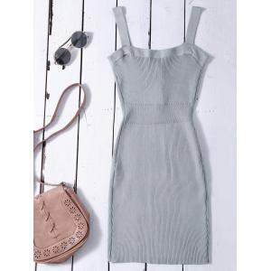Bodycon Wide Strap Tank Ribbed Jumper Dress - GRAY ONE SIZE