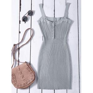 Bodycon Wide Strap Tank Ribbed Jumper Dress - Gray - One Size