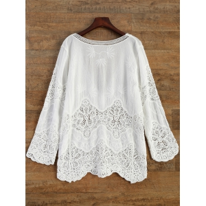 Crochet Panel Beach Cover-Up - WHITE ONE SIZE