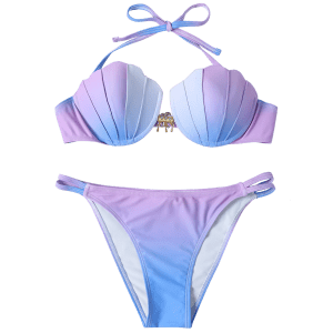 Bikini coquille dos nu couleur ombrée -