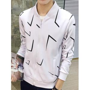 Geometric Print Zip Up Jacket -