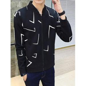 Geometric Print Zip Up Jacket - BLACK 2XL
