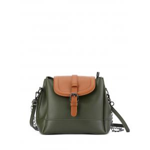 Chains Buckle Strap Color Block Bucket Bag - Army Green - 44