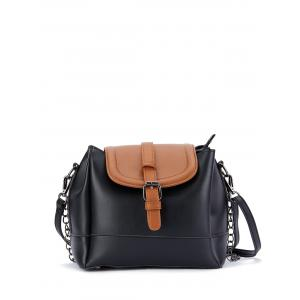 Chains Buckle Strap Color Block Bucket Bag