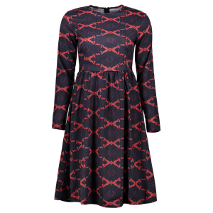 Argyle Fit and Flare Dress - Red - Xl
