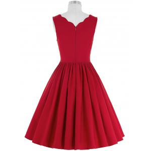 Scalloped A Line Cocktail Dress - RED 2XL