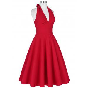 Halter Low Back Plunge Party Dress - RED 2XL