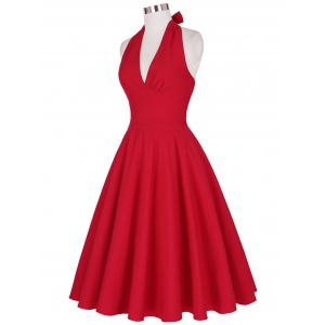 Halter Low Back Plunge Work Christmas Party Dress - RED L