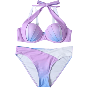 Mermaid Shell Ombre Color Halter Bikini - BLUE + PURPLE S