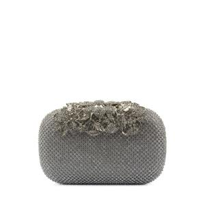 Rhinestone Trimming Metal Leaves Evening Bag