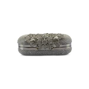 Rhinestone Trimming Metal Leaves Evening Bag -