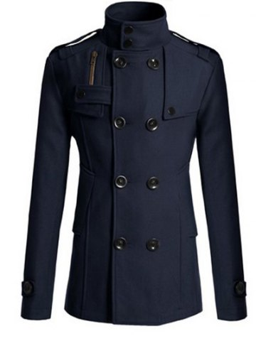 Outfit Stand Collar Zipper Design Double Breasted Woolen Blends Coat - 3XL CADETBLUE Mobile