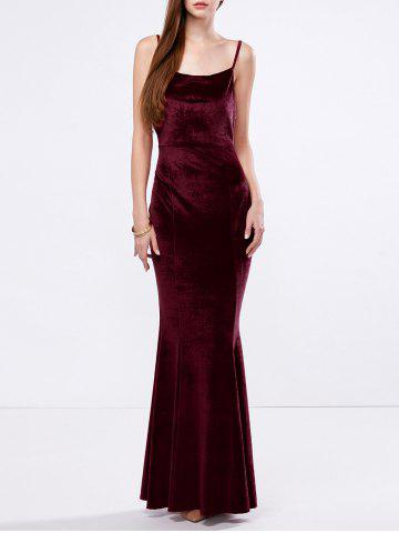 Unique Velvet Mermaid Slip Bandage Formal Dress