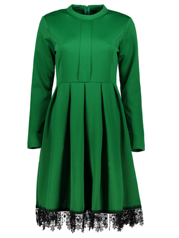 Sale Stand Collar Long Sleeves Lacework Dress GREEN S
