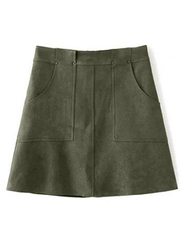 Trendy Front Pockets Suede A Line Skirt OLIVE GREEN S