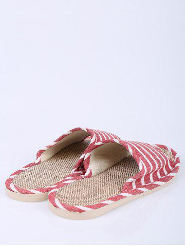Discount Cotton Fabric Striped House Slippers - SIZE(37-38) CLARET Mobile