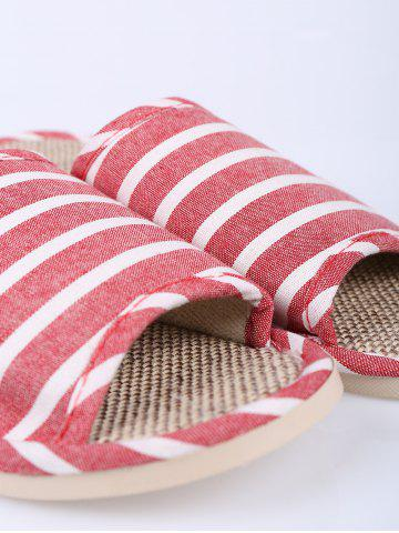 New Cotton Fabric Striped House Slippers - SIZE(39-40) CLARET Mobile