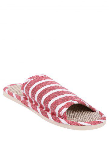 Fashion Cotton Fabric Striped House Slippers - SIZE(39-40) CLARET Mobile