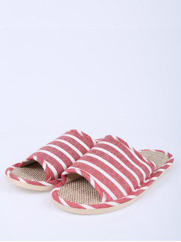 Discount Cotton Fabric Striped House Slippers - SIZE(39-40) CLARET Mobile