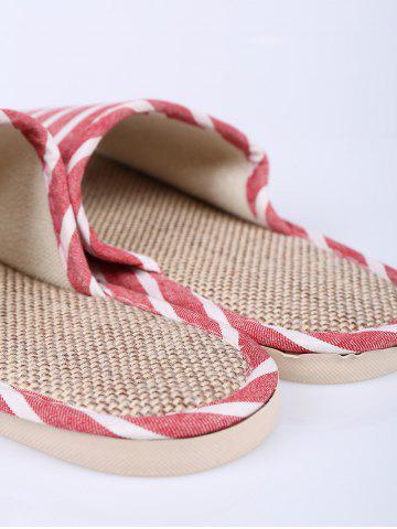 Store Cotton Fabric Striped House Slippers - SIZE(39-40) CLARET Mobile