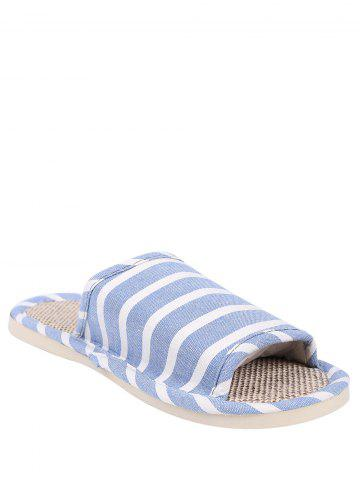 Discount Cotton Fabric Striped House Slippers LIGHT BLUE SIZE(37-38)
