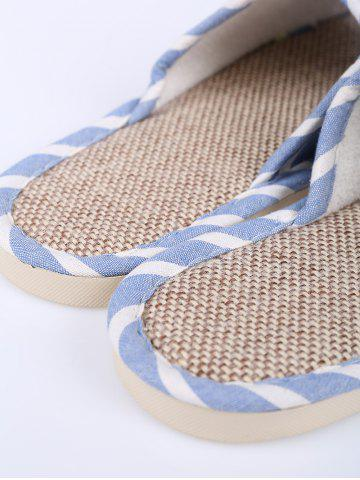Best Cotton Fabric Striped House Slippers - SIZE(39-40) LIGHT BLUE Mobile