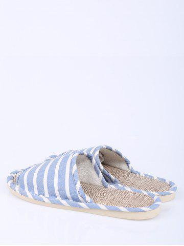 Shop Cotton Fabric Striped House Slippers - SIZE(39-40) LIGHT BLUE Mobile