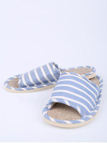 Store Cotton Fabric Striped House Slippers - SIZE(39-40) LIGHT BLUE Mobile