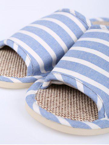 Hot Cotton Fabric Striped House Slippers - SIZE(39-40) LIGHT BLUE Mobile