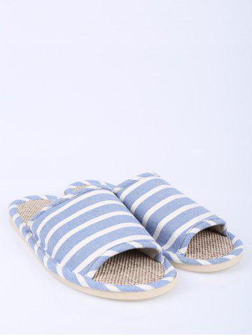 New Cotton Fabric Striped House Slippers - SIZE(39-40) LIGHT BLUE Mobile