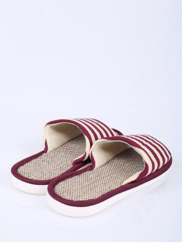 Hot Open Toe Linen Stripes Indoor Slippers - SIZE(38-39) CLARET Mobile