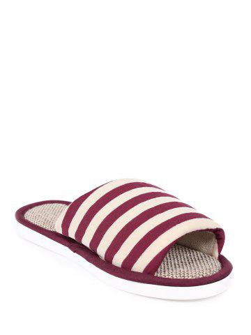 New Open Toe Linen Stripes Indoor Slippers - SIZE(38-39) CLARET Mobile