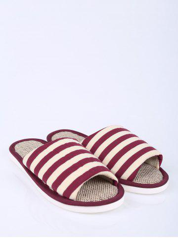 Store Open Toe Linen Stripes Indoor Slippers - SIZE(38-39) CLARET Mobile