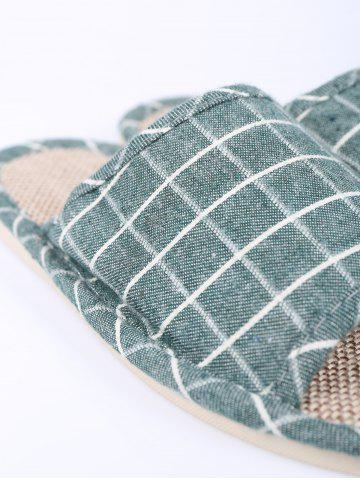 Affordable Color Block Plaid Indoor Slippers - SIZE(37-38) GREEN Mobile