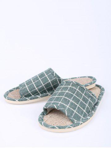 Best Color Block Plaid Indoor Slippers - SIZE(37-38) GREEN Mobile