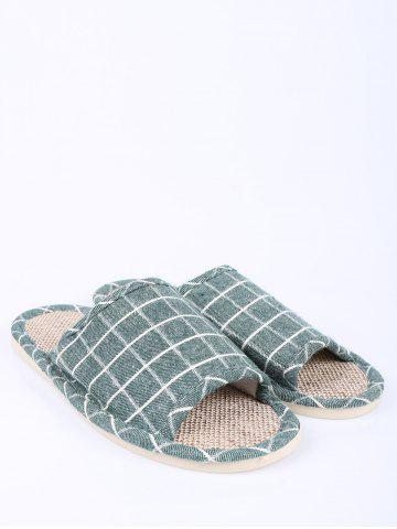 Hot Color Block Plaid Indoor Slippers - SIZE(37-38) GREEN Mobile