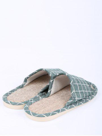 Discount Color Block Plaid Indoor Slippers - SIZE(37-38) GREEN Mobile
