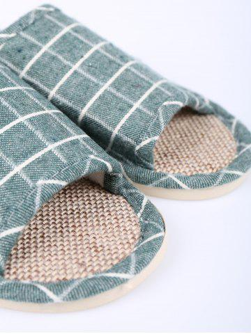 New Color Block Plaid Indoor Slippers - SIZE(37-38) GREEN Mobile