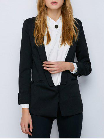 Shawl Collar Cuffed One Button Blazer - Black - Xl